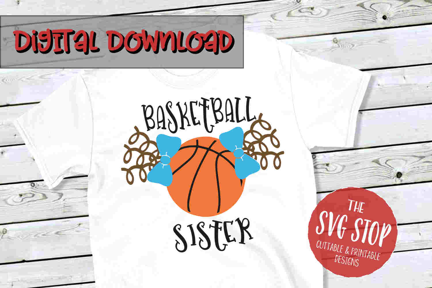 Basketball Sister Pigtails -SVG, PNG, DXF example image 1