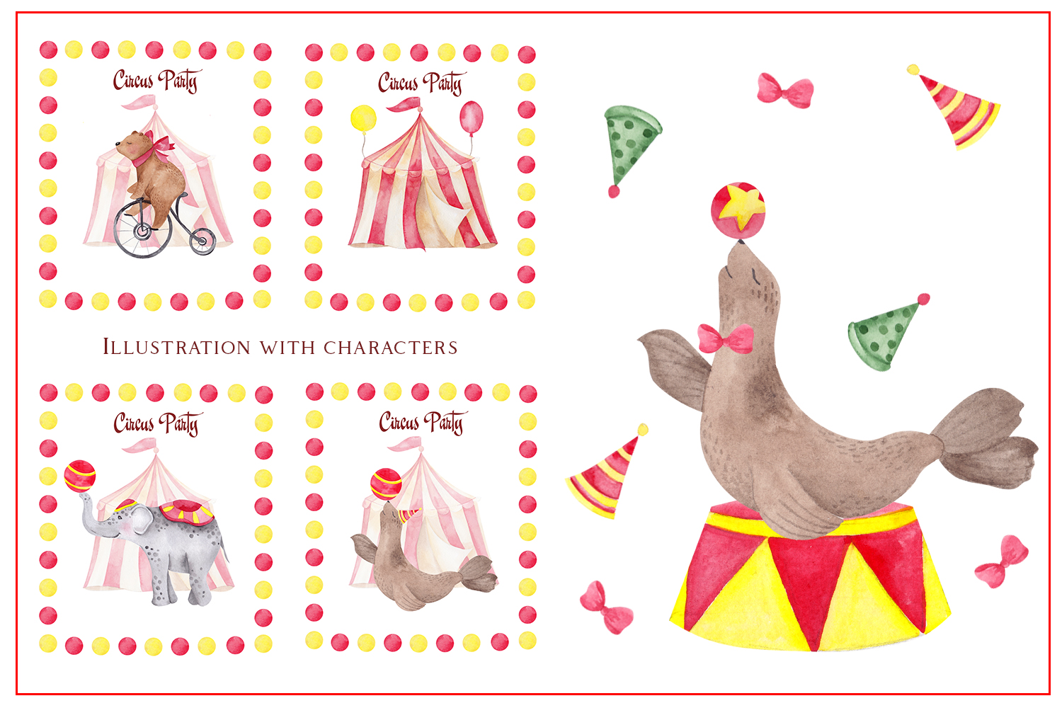 Circus. Watercolor clipart example image 7