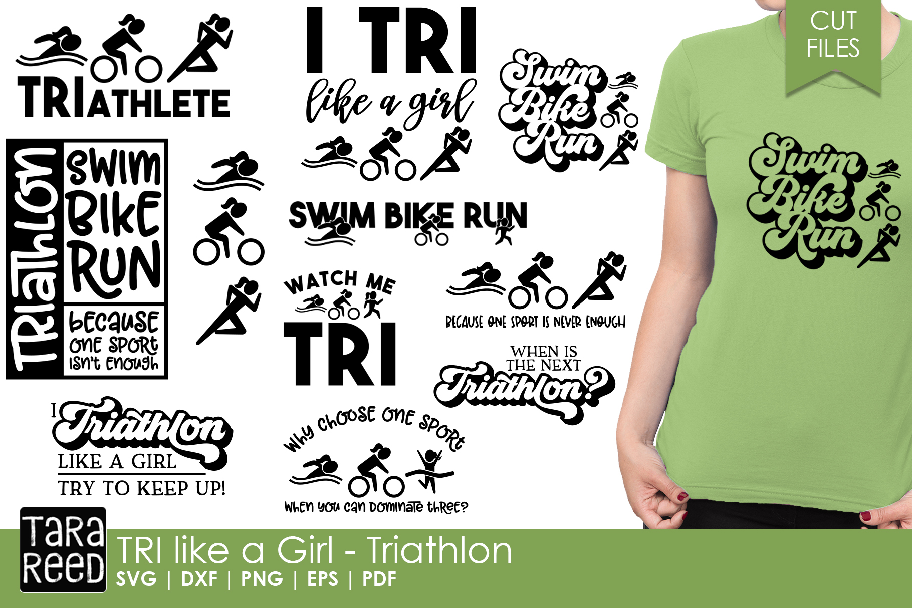 TRI like a Girl - Triathlon SVG and Cut Files for Crafters example image 1