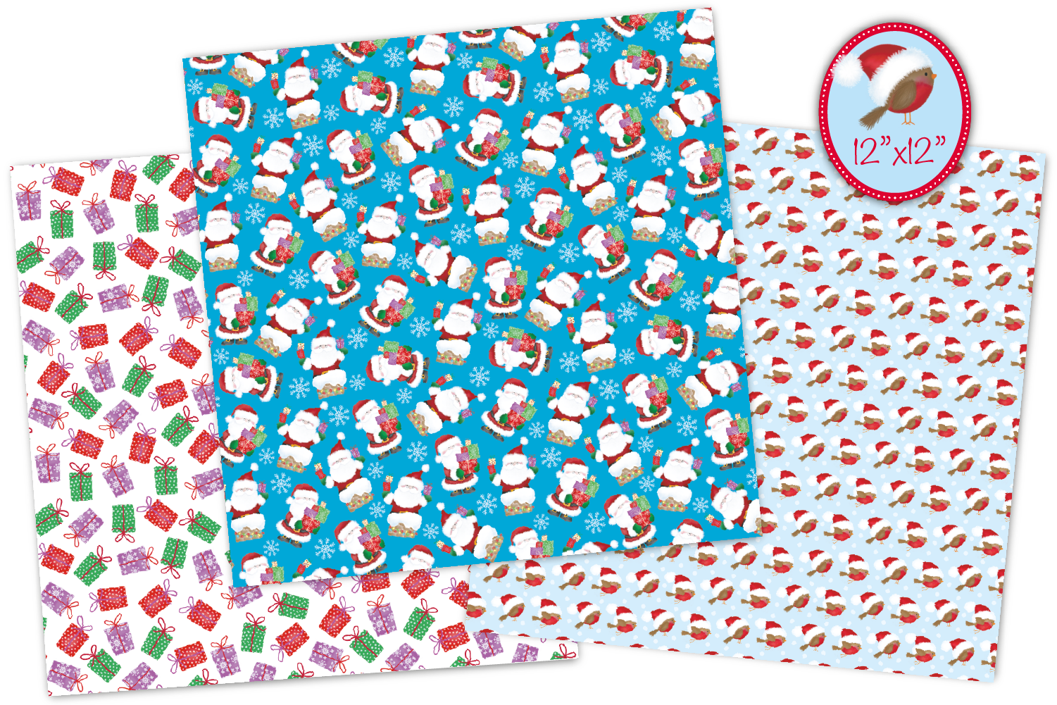 Christmas digital papers, Christmas patterns, Santa papers example image 4