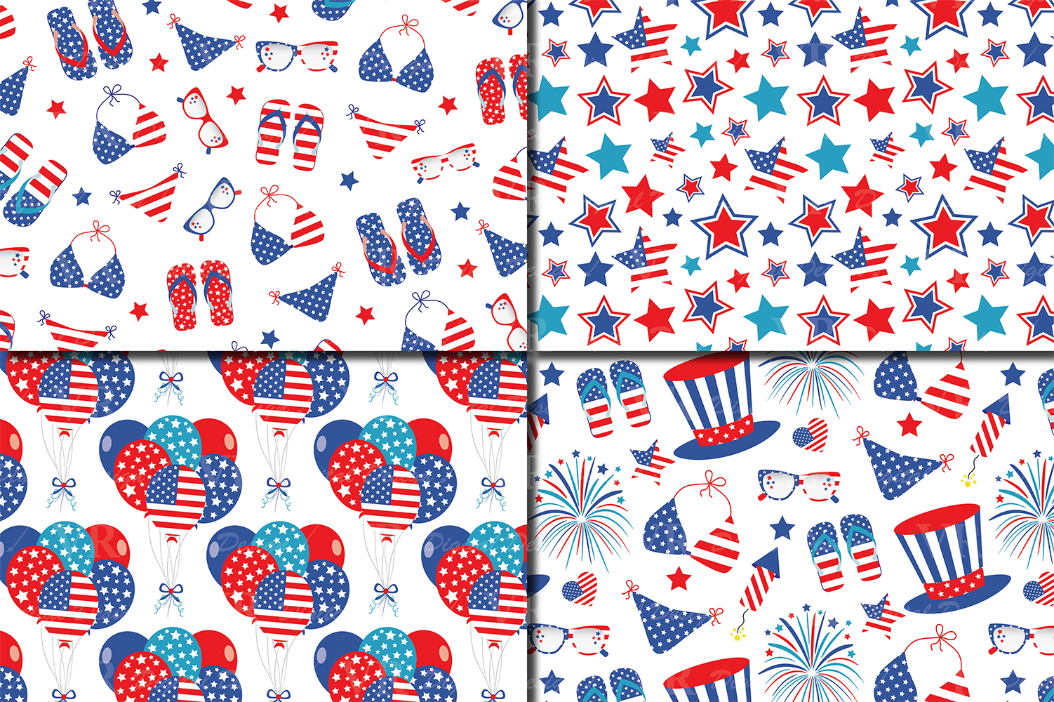 4th of July Digital Paper / USA Independence Day backgrounds / American patriotic Scrapbook paper example image 2