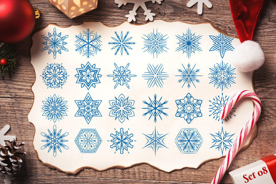 500 Snowflake Vector Ornaments example image 17