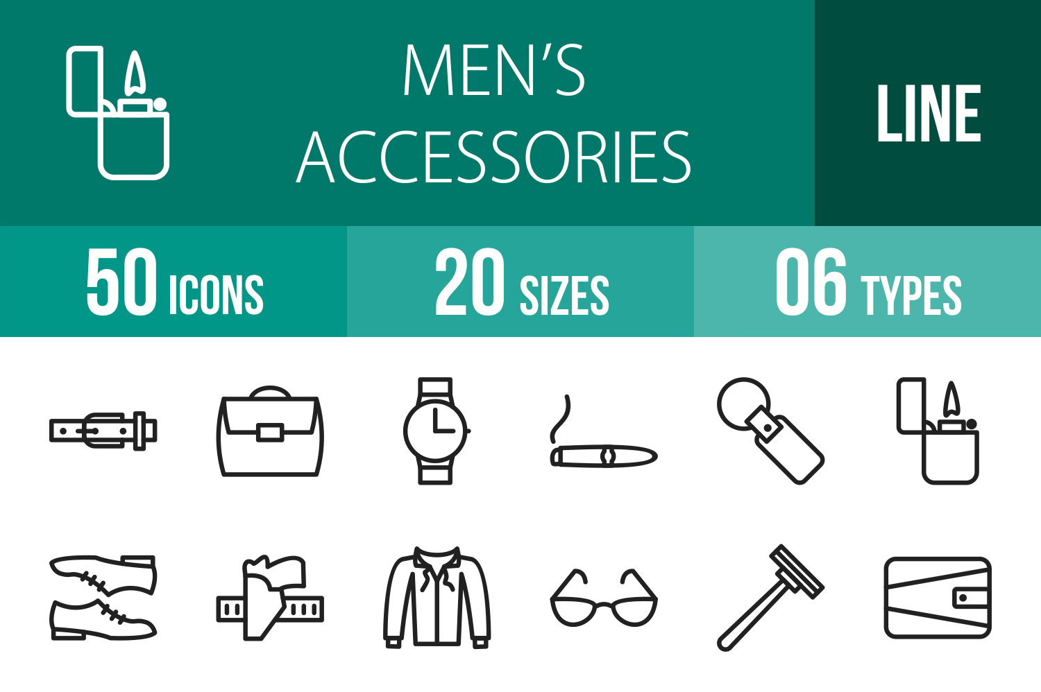 50 Mens Accessories Line Icons example image 1