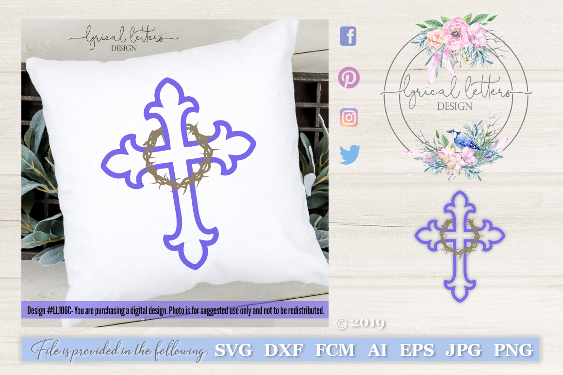 Cross With Crown of Thorns SVG DXF FCM LL106 example image 1
