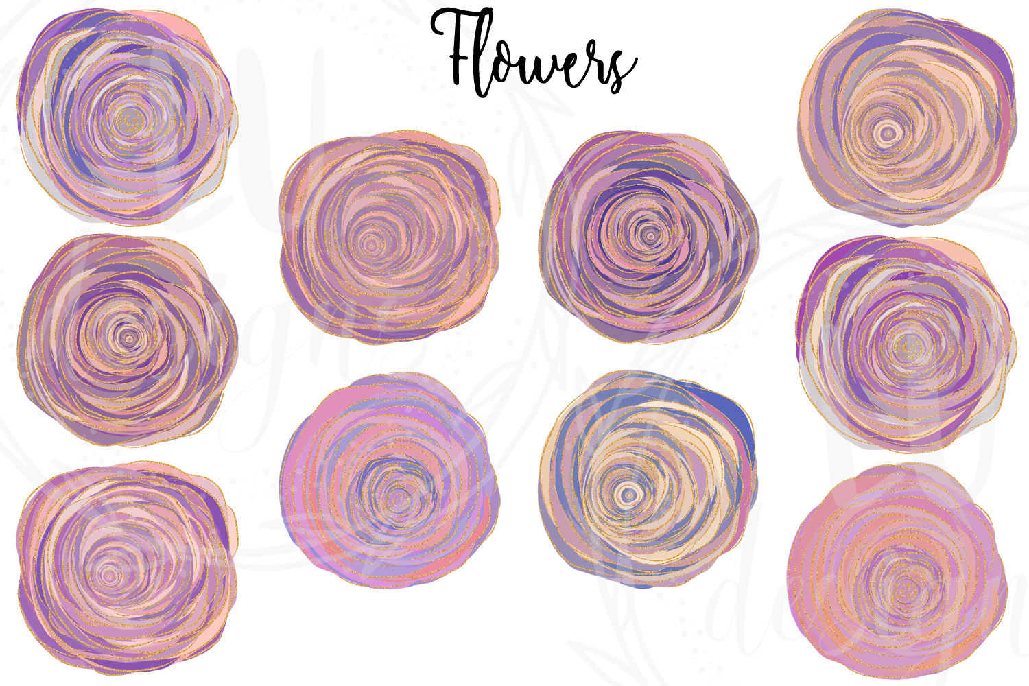 Floral and Glitter Clipart, Purple Flowers Graphics example image 2
