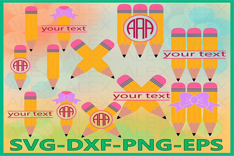 Pencil svg, Pencil Monogram Svg, Pencil Split Monogram example image 1