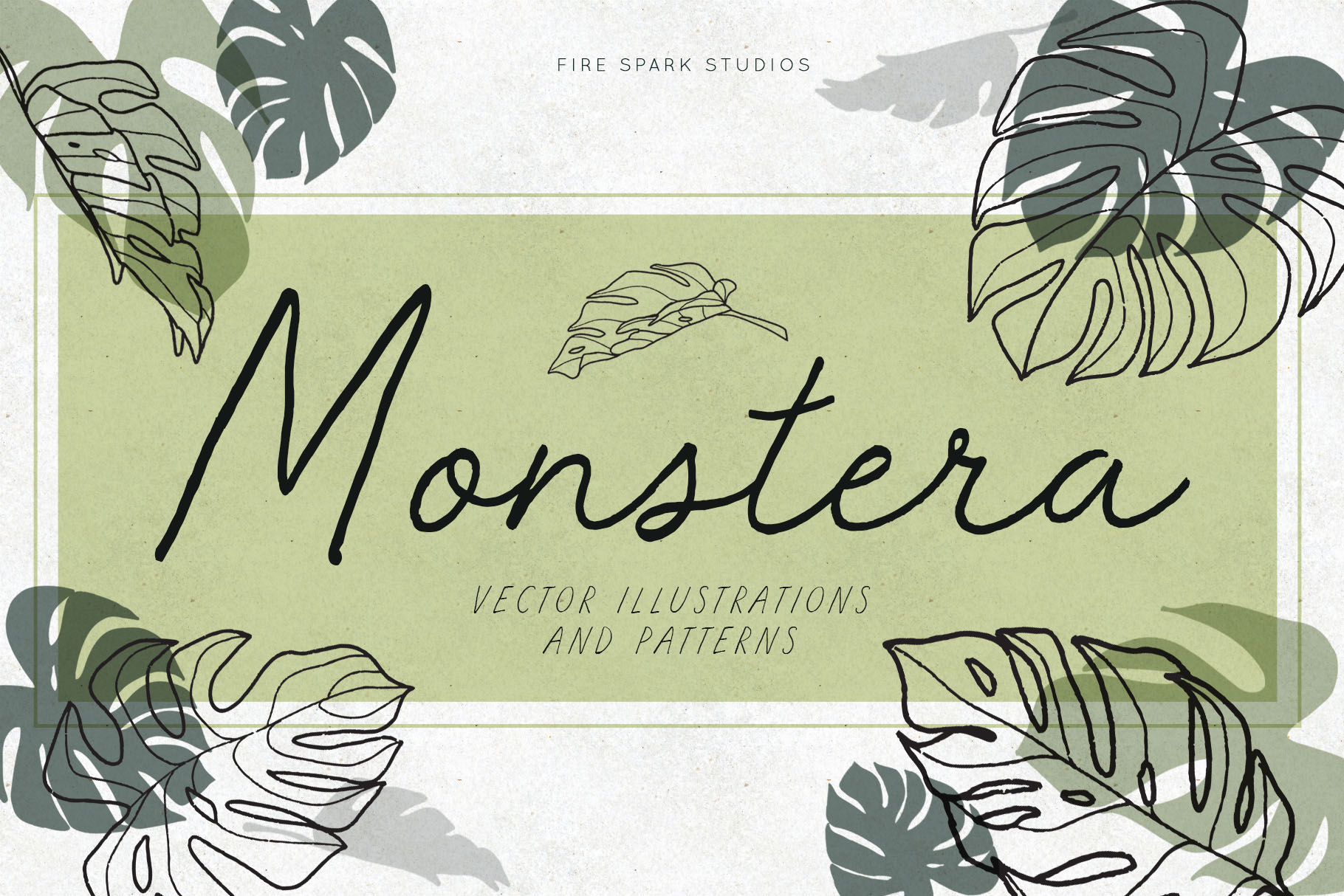 Monstera Vector Illustrations & Patterns example image 1
