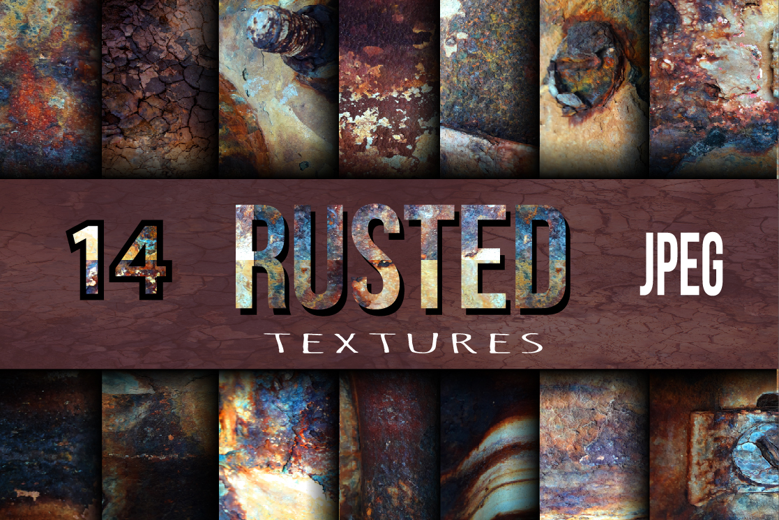 14 Rusted textures set. example image 1
