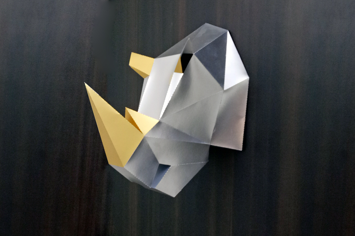 DIY Rhinoceros Head - 3d papercraft example image 2