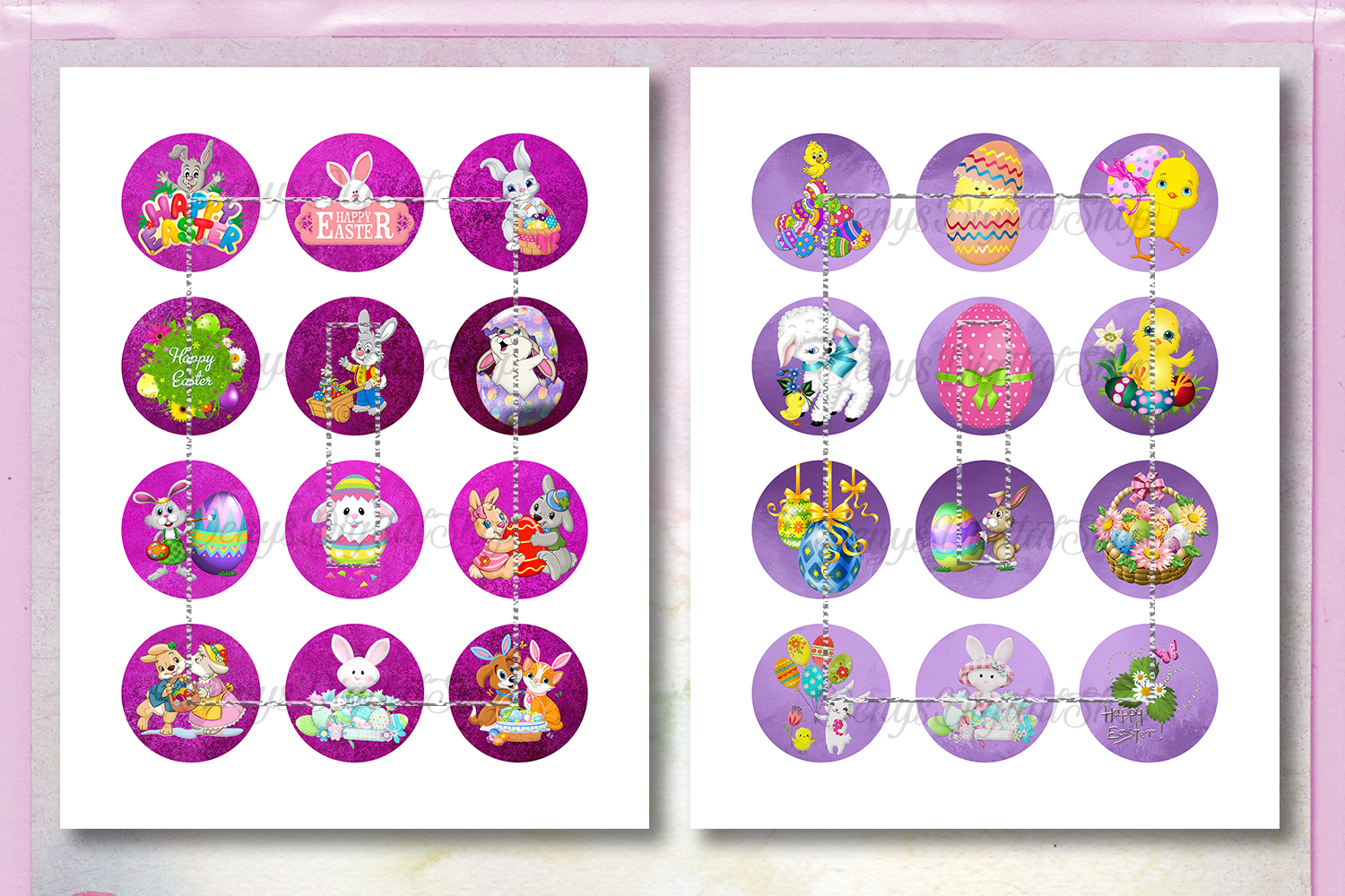 Easter Digital Collage Sheet,Easter Images,Easter Circles example image 2