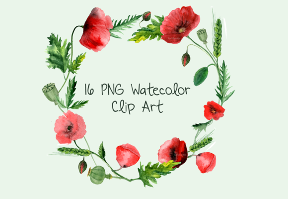 16 Watercolor Poppies Clip Art example image 1