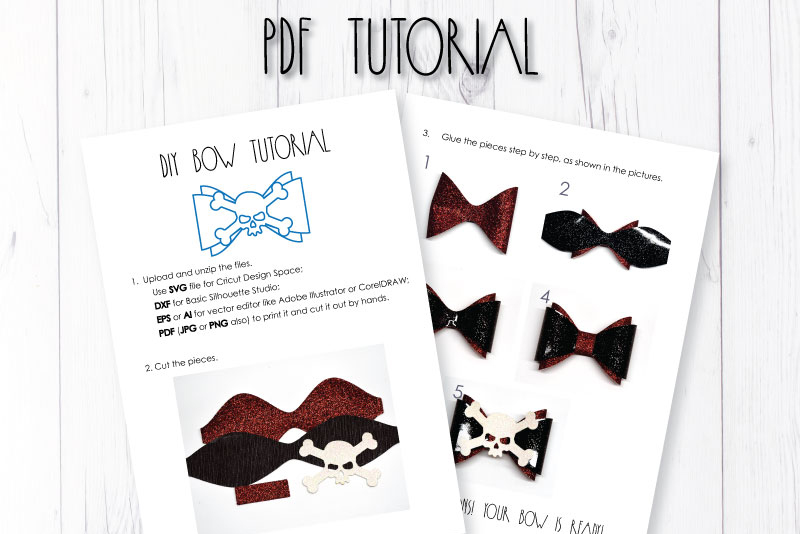 Skull Hair bow template SVG, DIY leather bow template example image 3