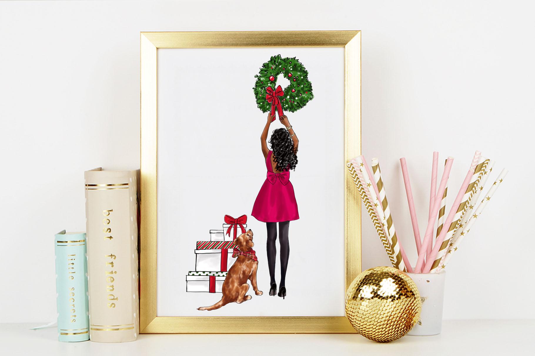 Fashion illustration - Christmas Girl 7 - Dark Skin example image 7