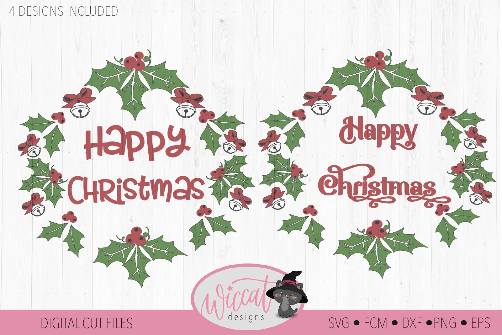 Merry Christmas wreath svg, Happy Christmas bells svg example image 2