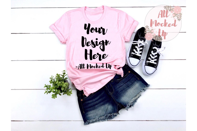 Bella Canvas 3001 PINK Shirt Mock Up - 3/19 example image 1