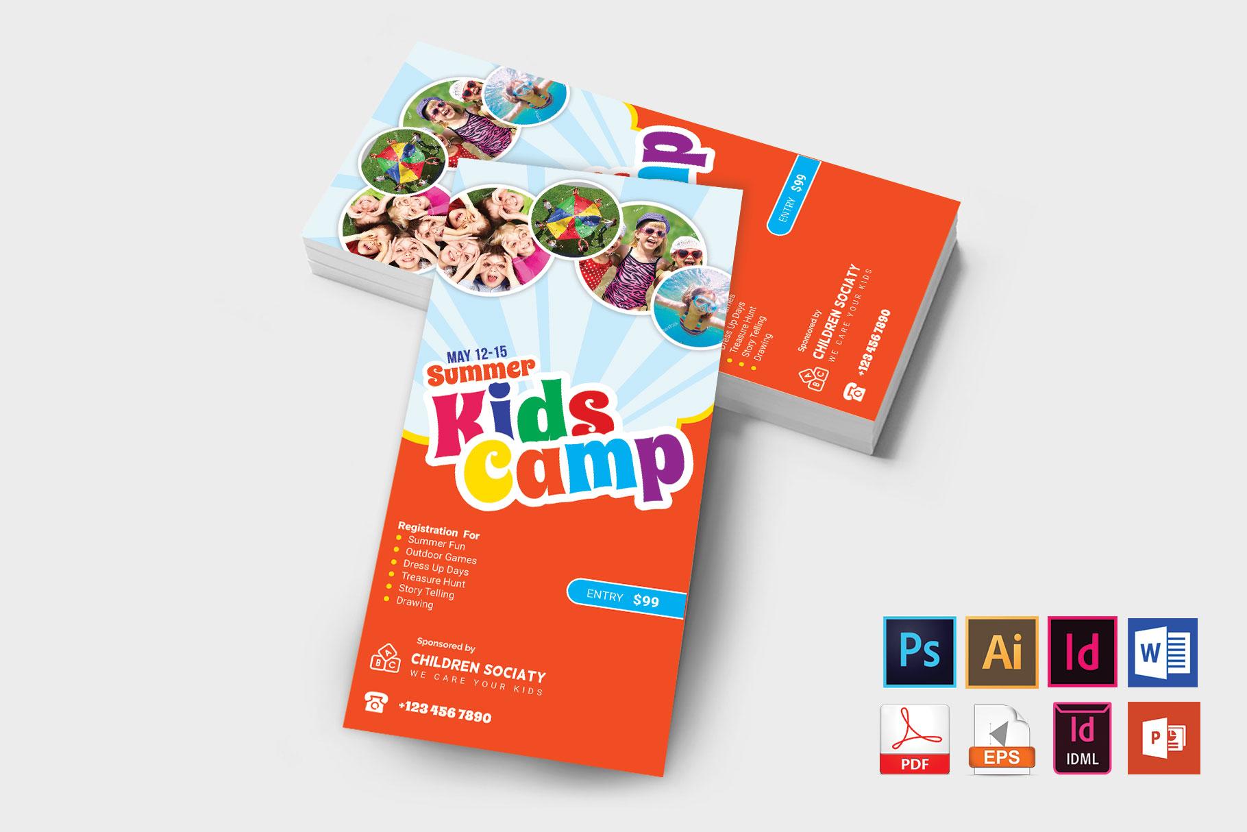 Rack Card | Kids Summer Camp DL Flyer Vol-2 example image 2