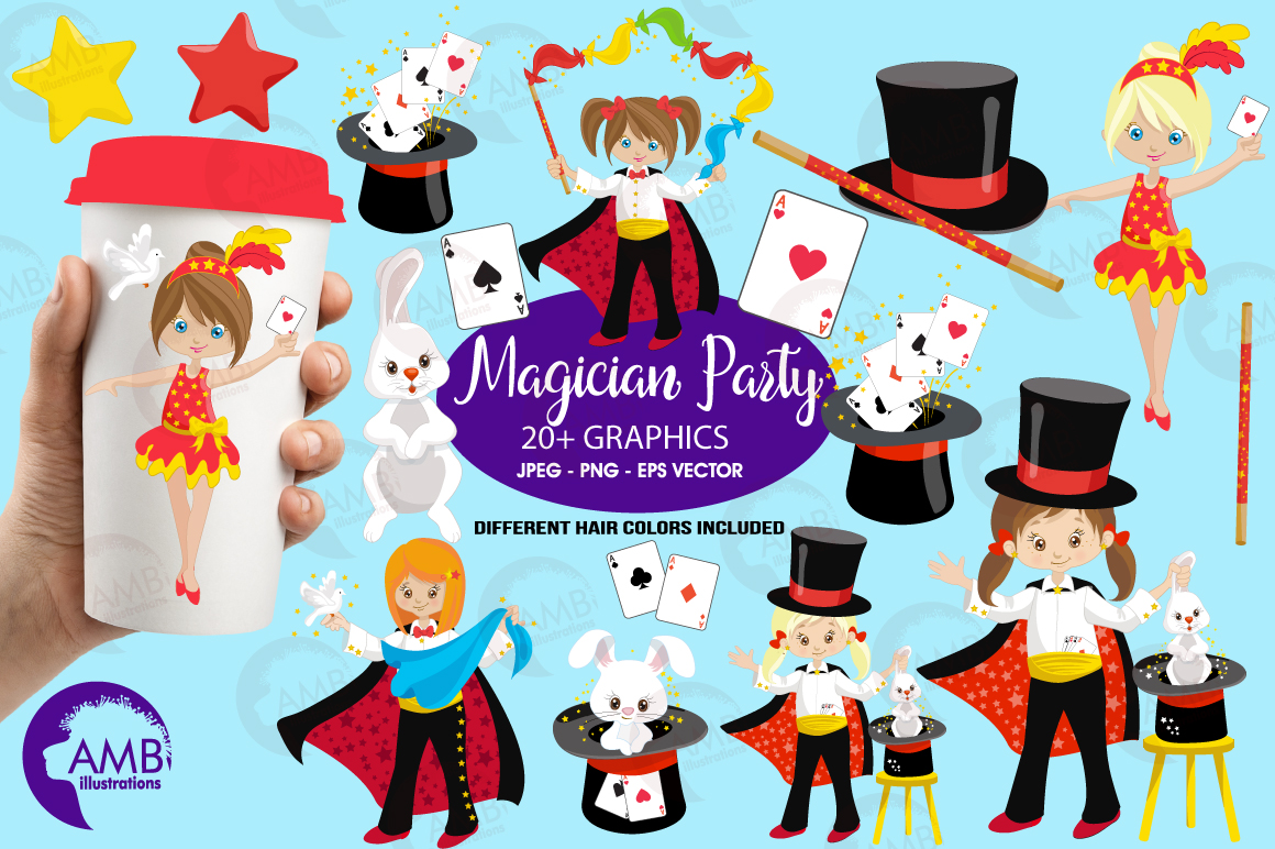 Girl's Magician Party clipart, graphics, illustrations AMB-1192 example image 5