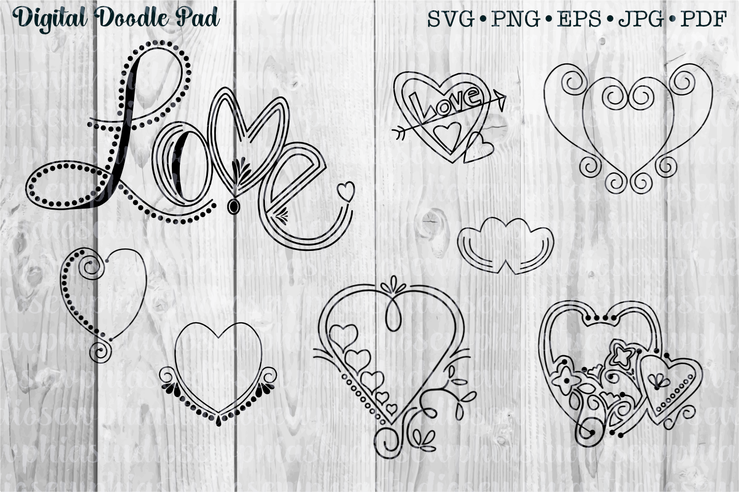 Doodle Heart Set by Digital Doodle Pad example image 1