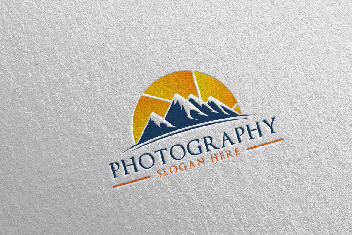 Abstract Mountain Camera Photography Logo 13 example image 5