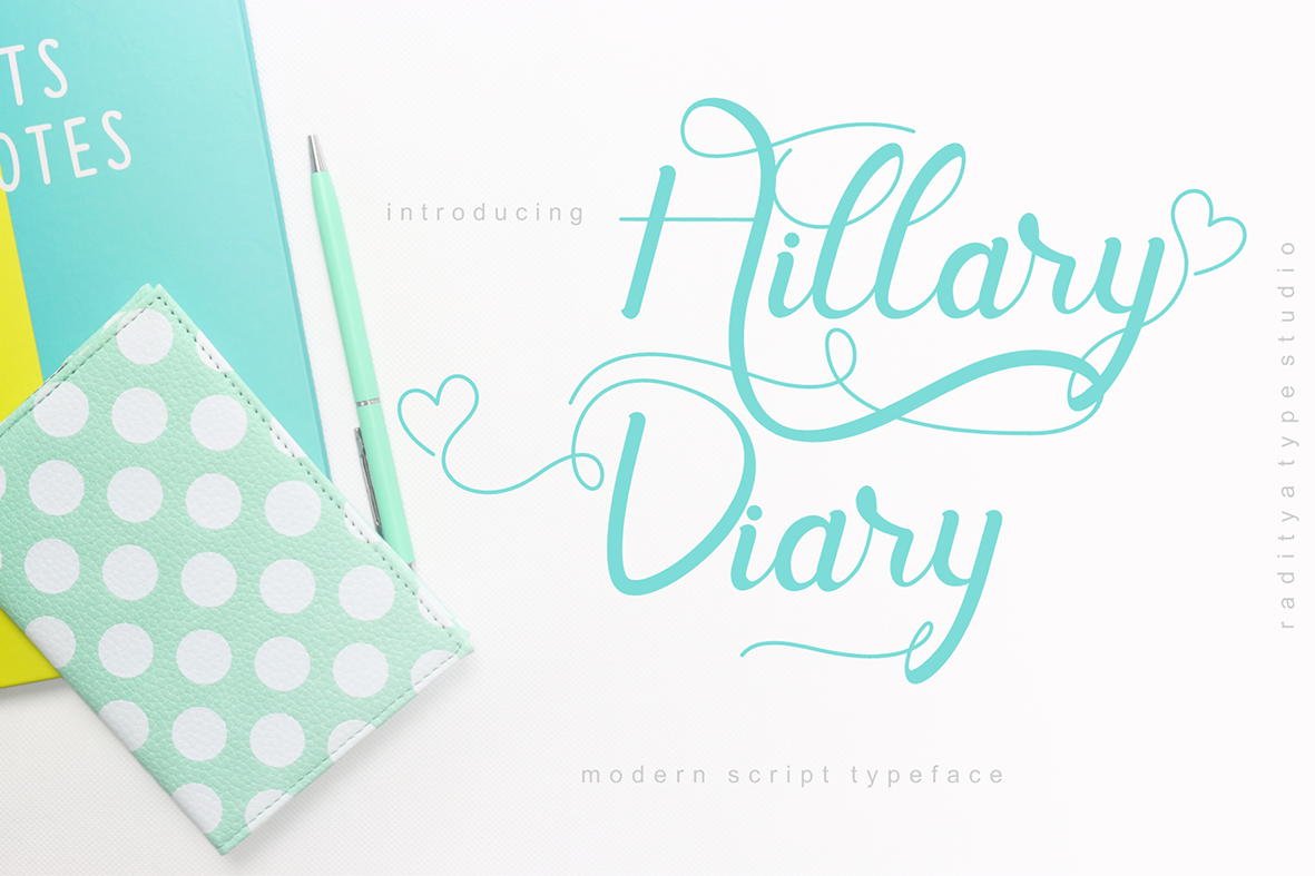 Hill Diary | Modern Script example image 1
