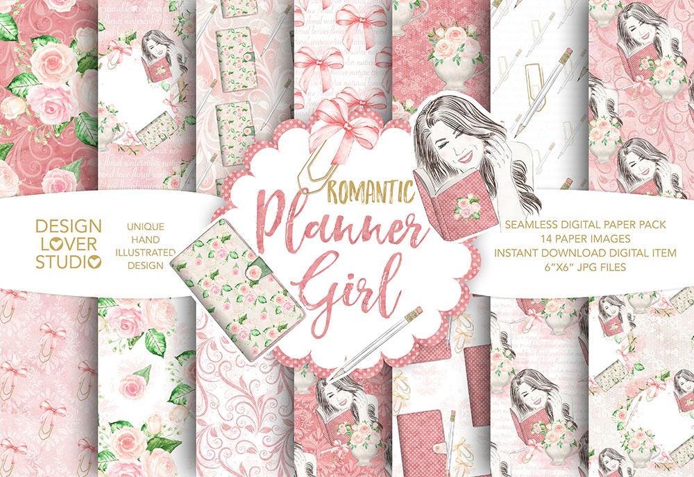 Planner girl digital paper pack example image 1