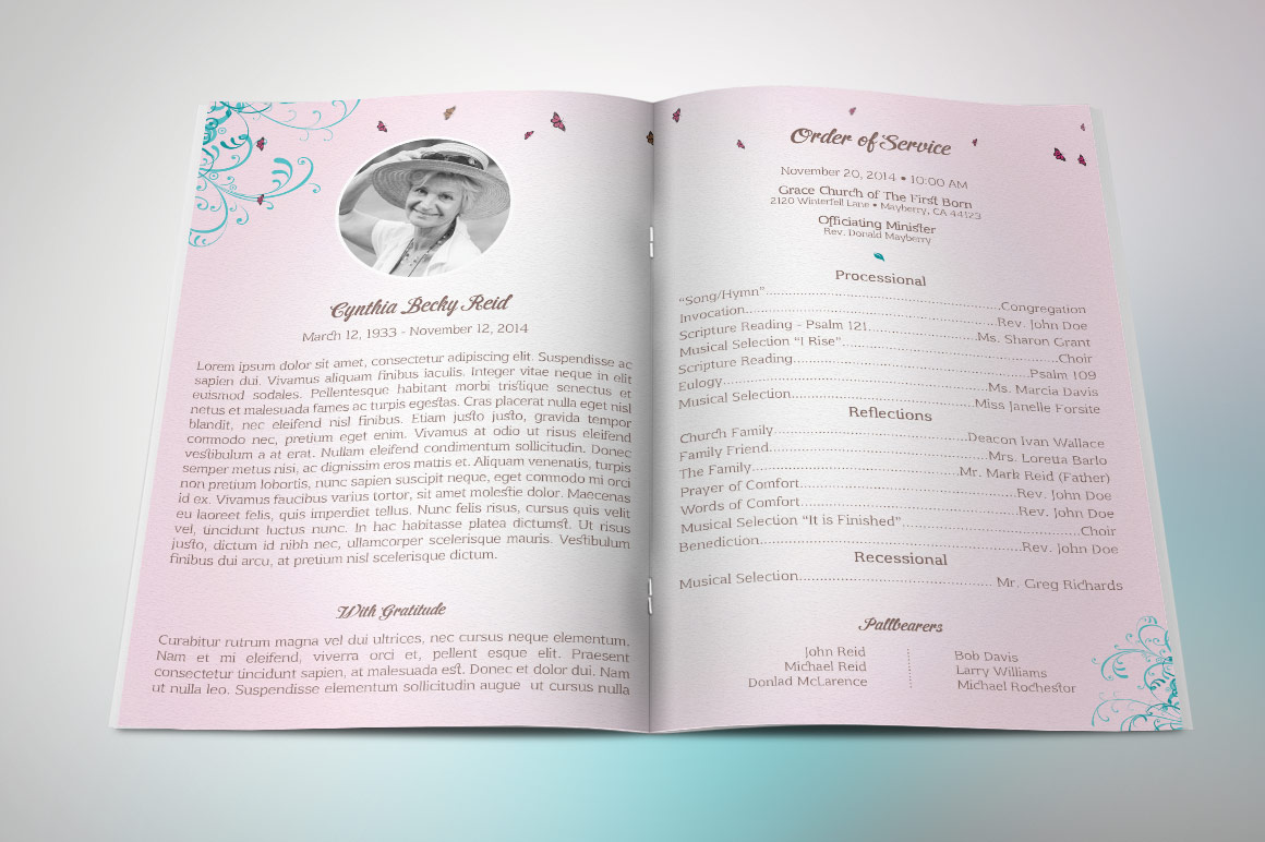 Flourish Funeral Program Template example image 2
