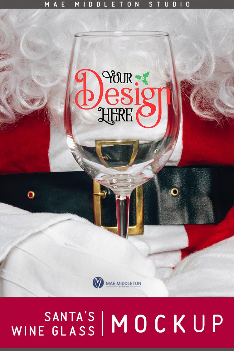 Santa's Wine Glass - Christmas Mock Up example image 3