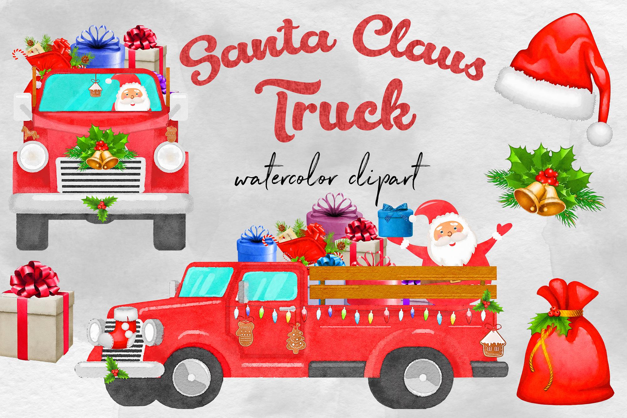 Watercolor Santa Claus Truck example image 1