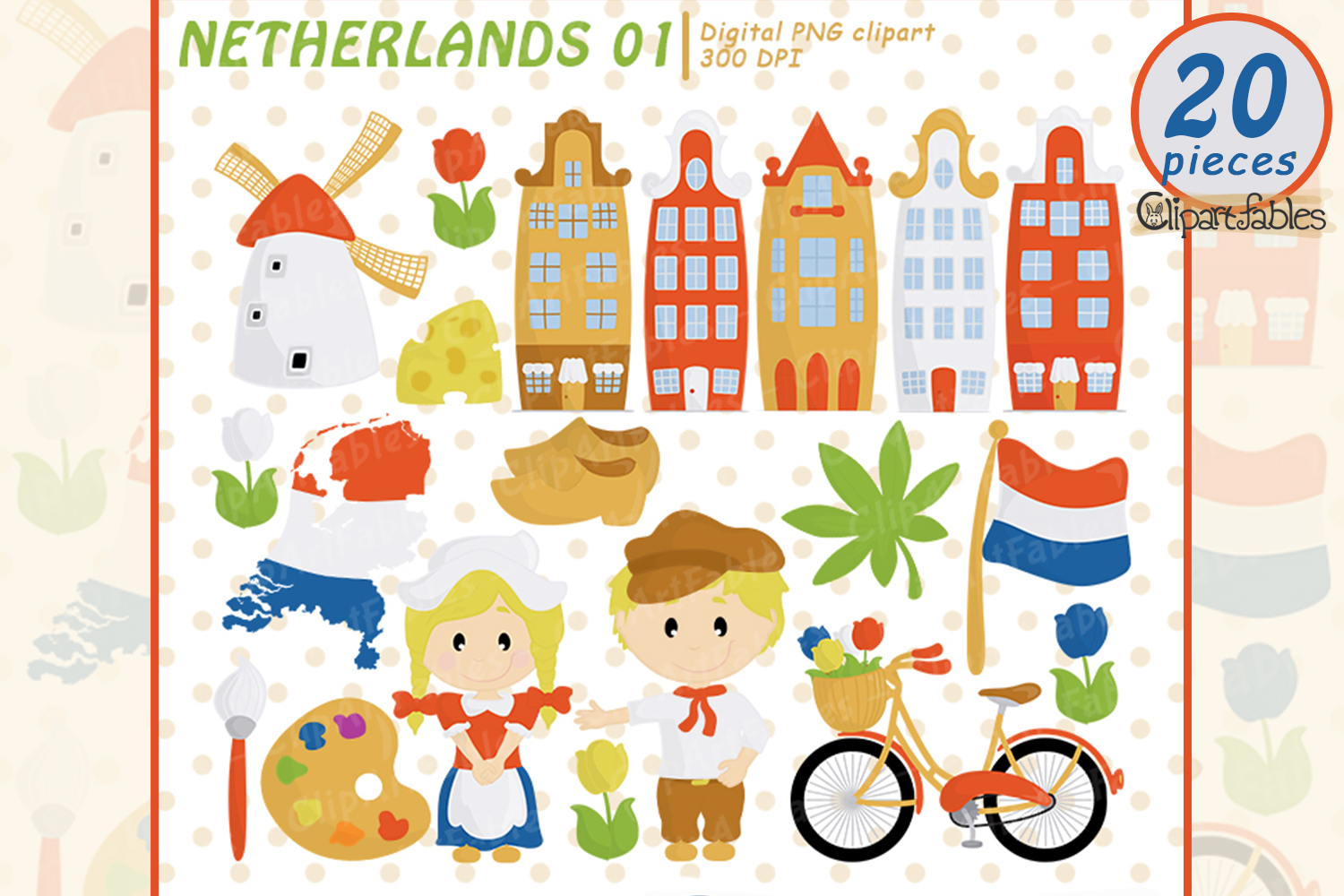 NETHERLANDS clip art, European travel party, cute Dutch art example image 1