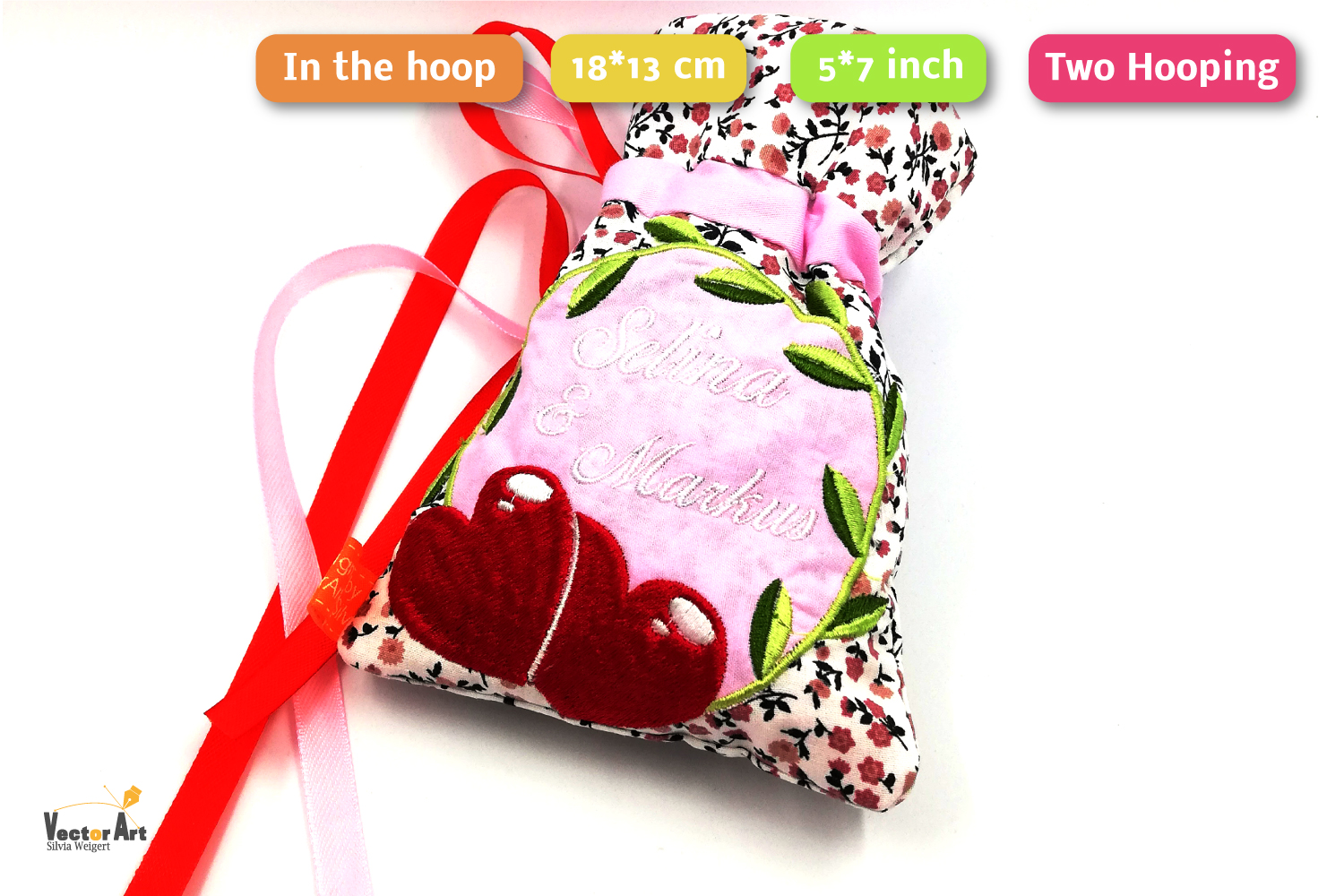ITH -Drawstring Bag for Wedding Money Gift - Embroidery File example image 3