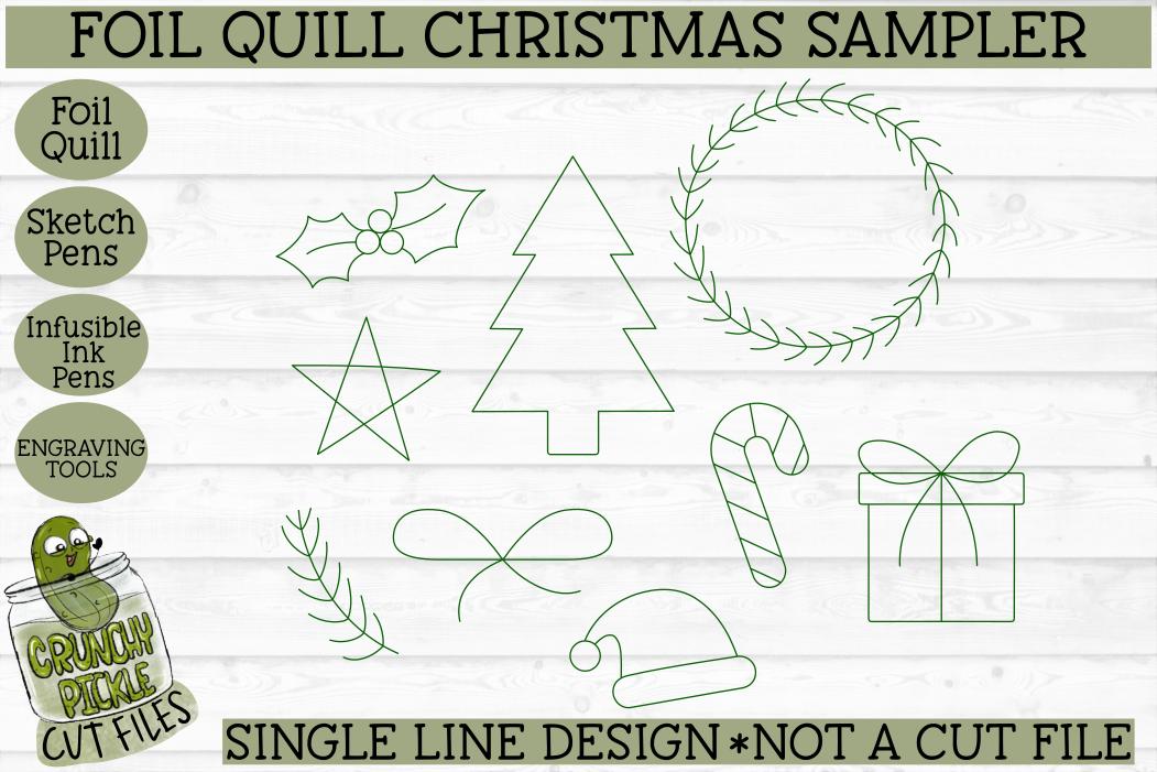 Foil Quill Christmas Sampler / Single Line Sketch SVG example image 2