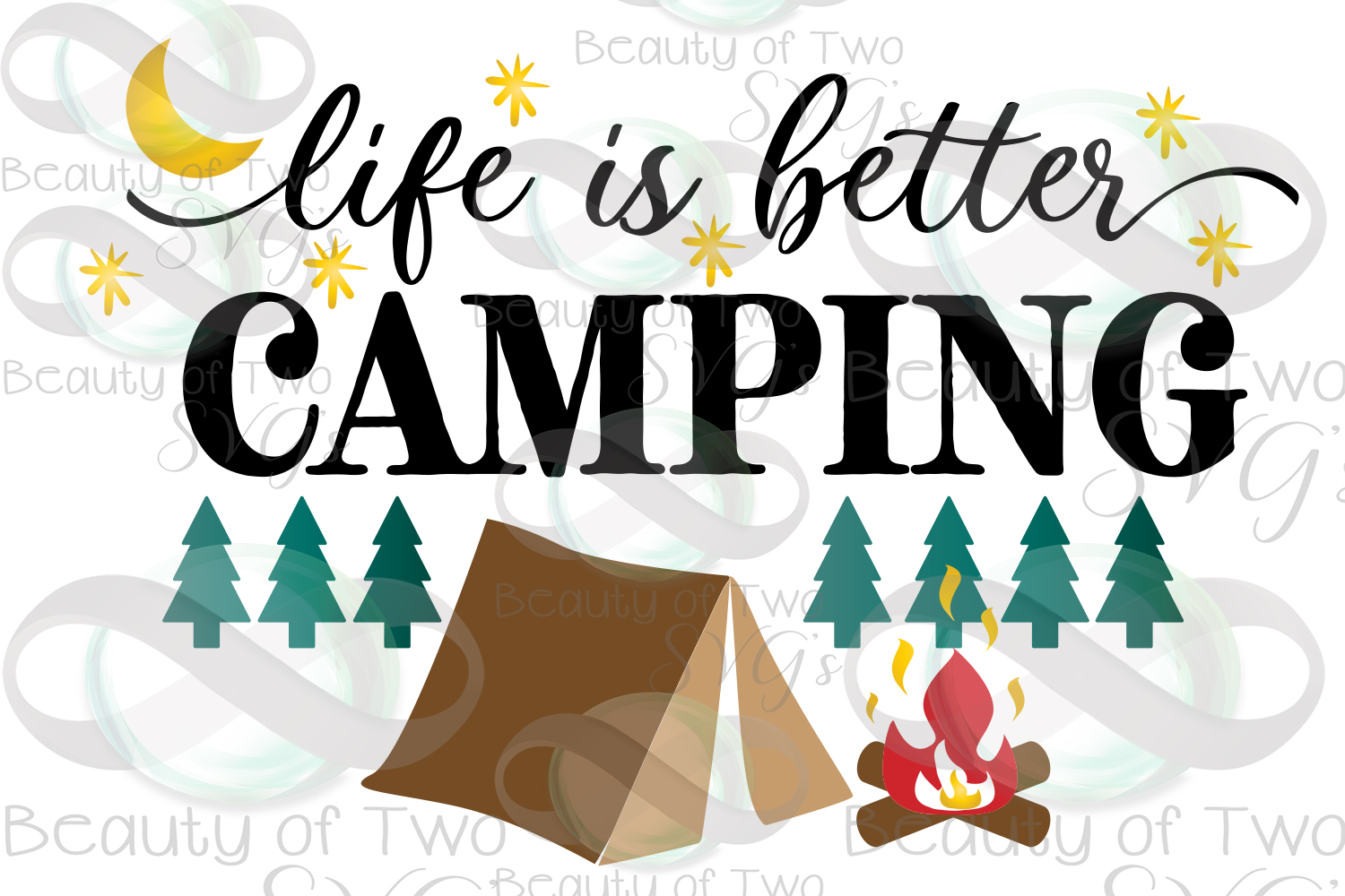 Life is better camping svg, campfire svg, tent svg example image 3