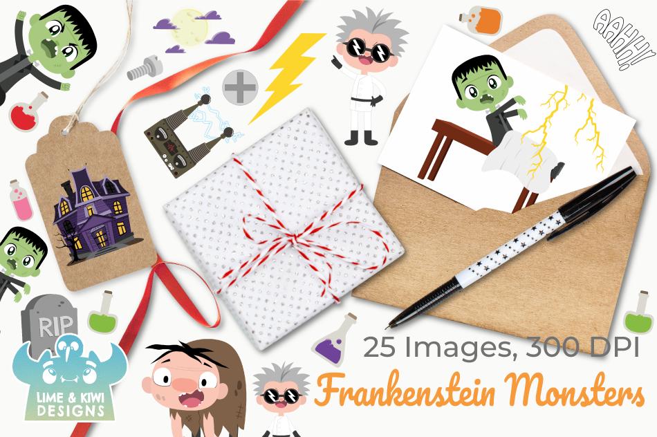 Frankenstein Monsters Clipart, Instant Download Vector Art example image 4