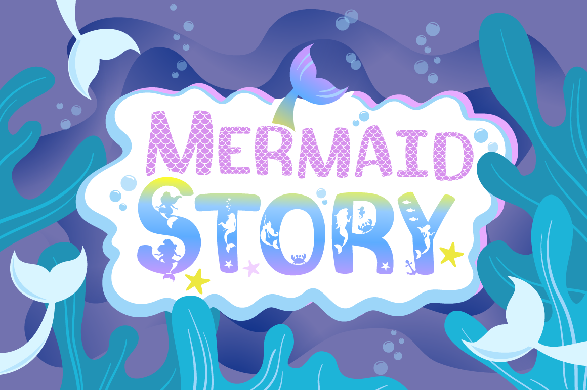 Mermaid Story & Mermaid Scales Font Duo | Mermaid Font example image 1