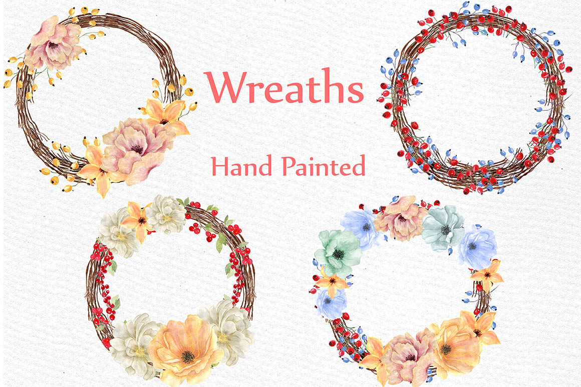 Watercolor flowers and wreaths example image 3