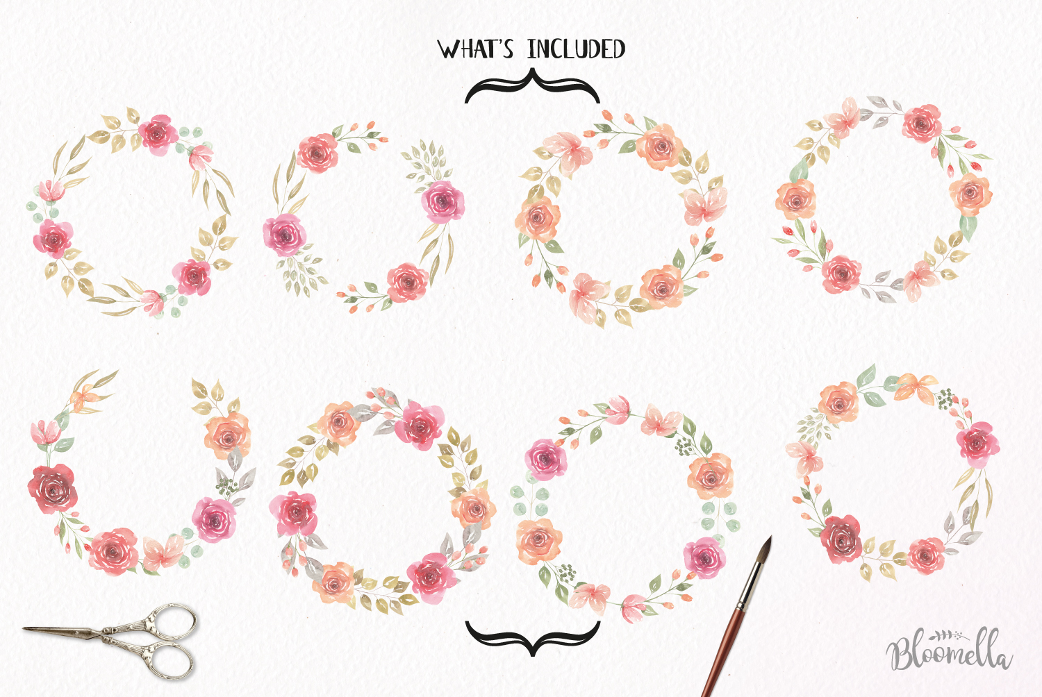 Rose Watercolor Floral Wreaths 8 Red Peach Flower Wedding example image 5
