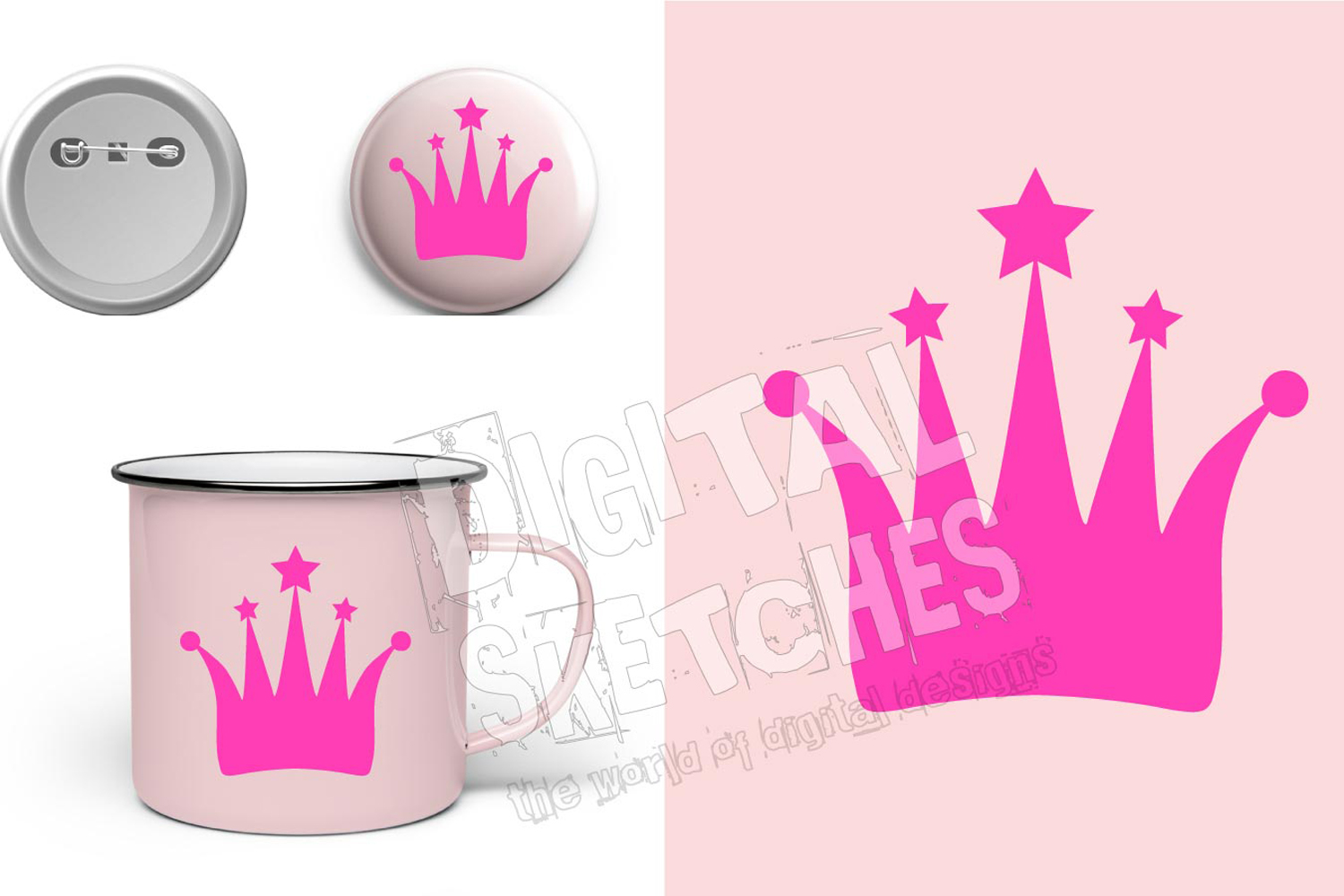 Crown Princess Cut File Vector Graphics Illustration example image 1