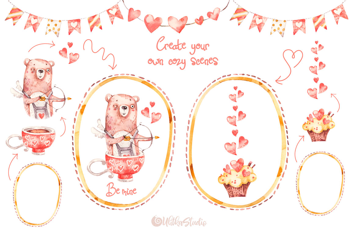Cozy Valentines Day. Lovely bears watercolor collection example image 11