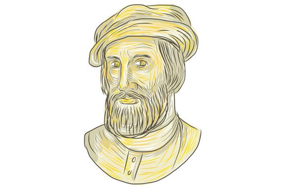 Hernan Cortes de Monroy Bust Drawing example image 1