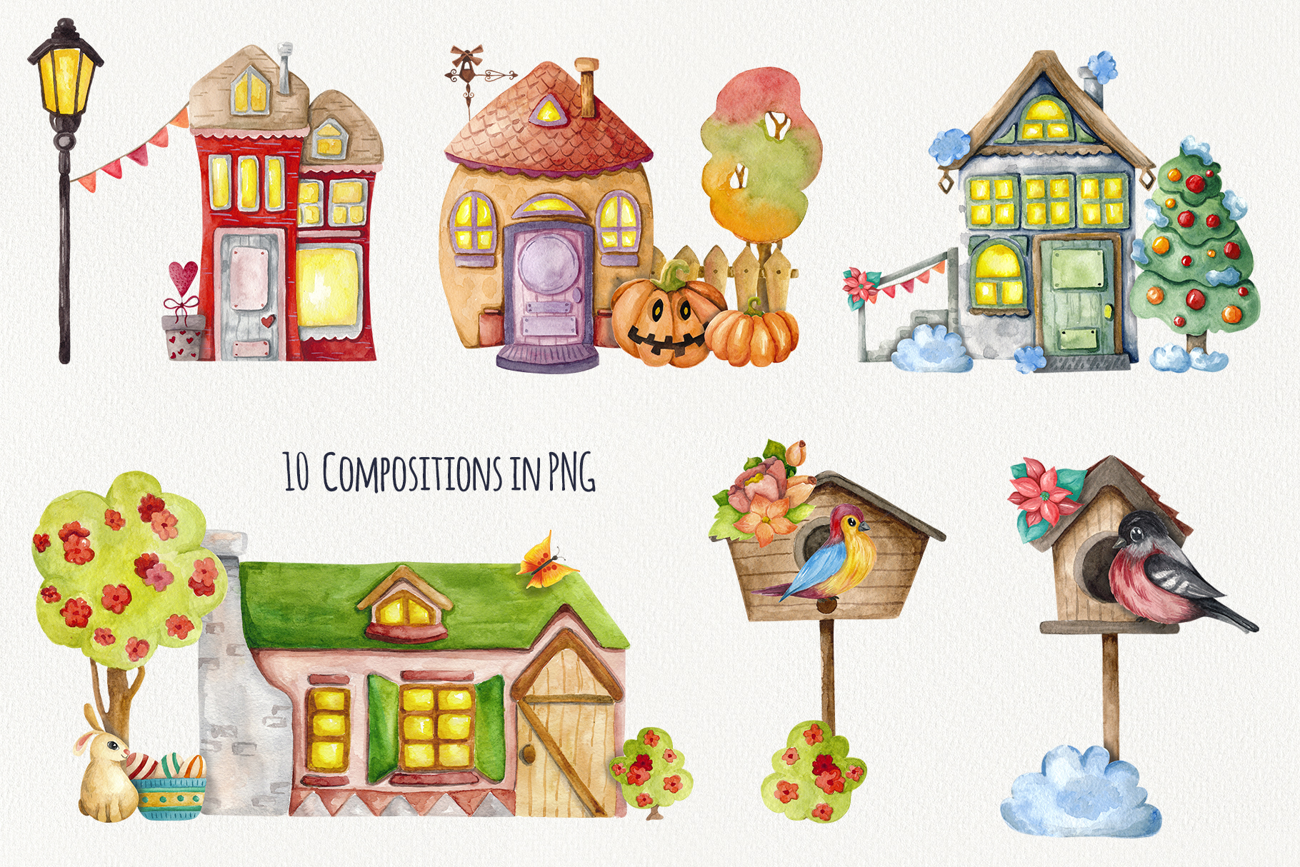 4 Seasons - Watercolor Houses example image 7