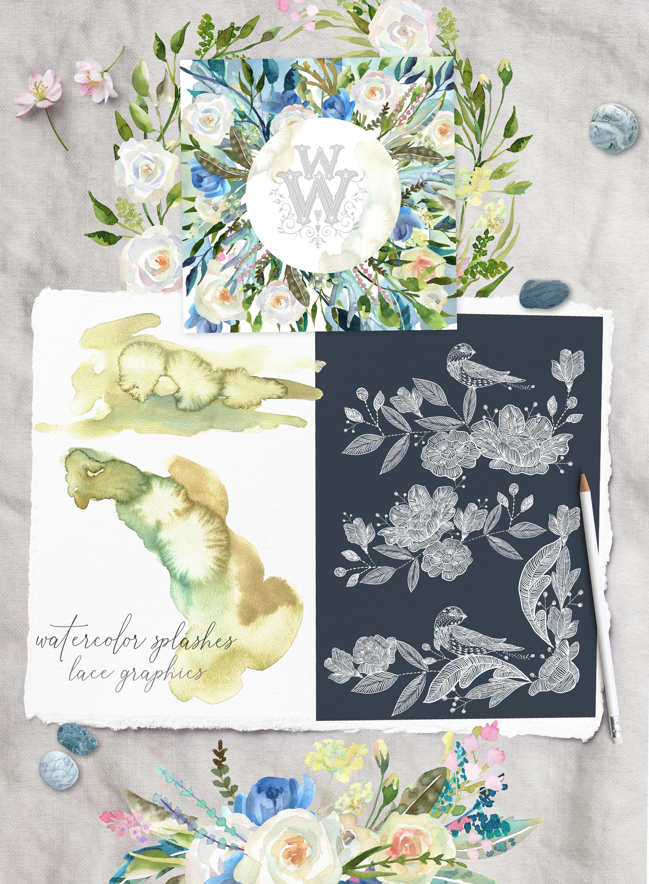 Watercolor floral wedding bouquets, boho compositios wreath example image 3