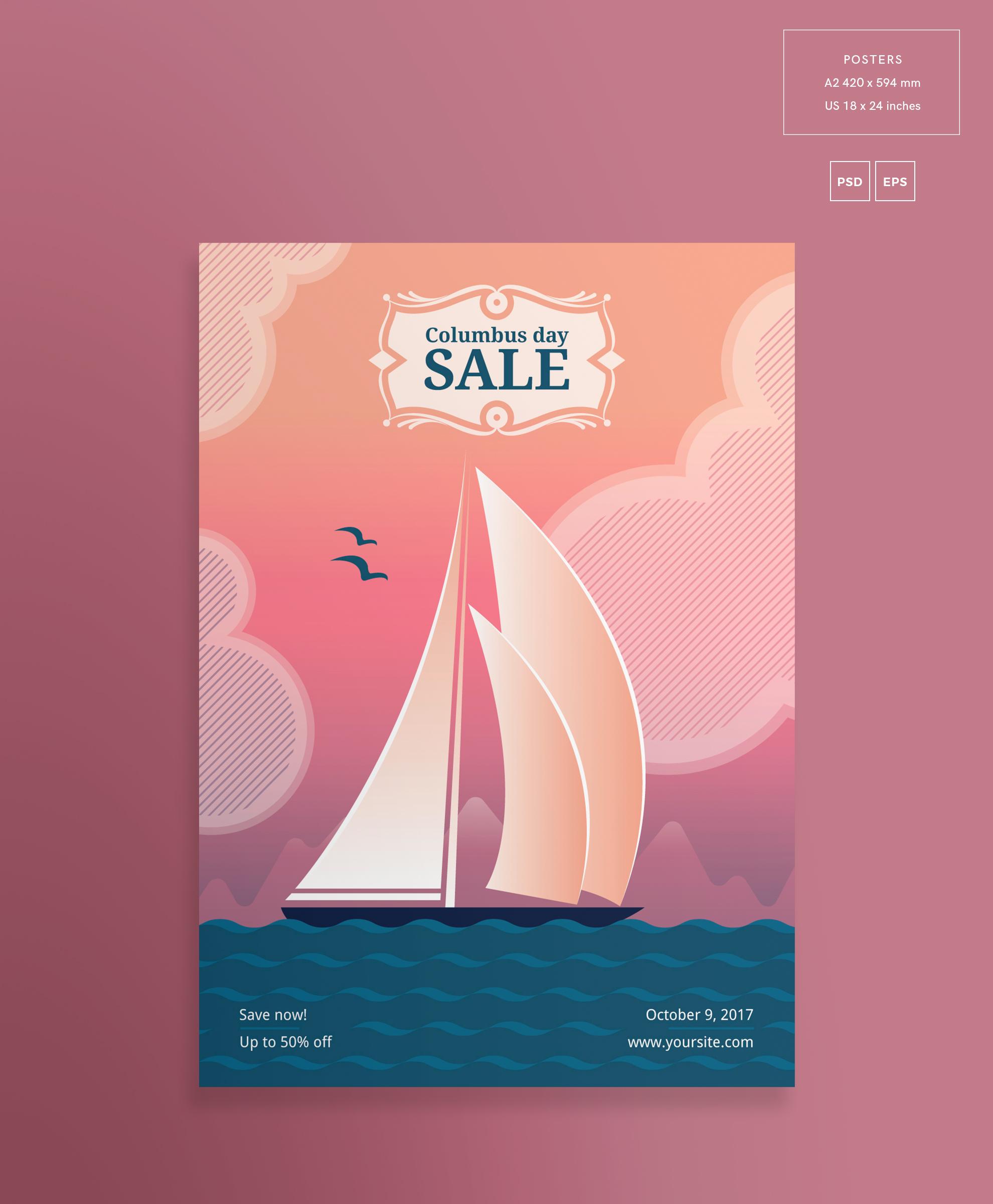 Columbus Day Sale Design Templates Bundle example image 3