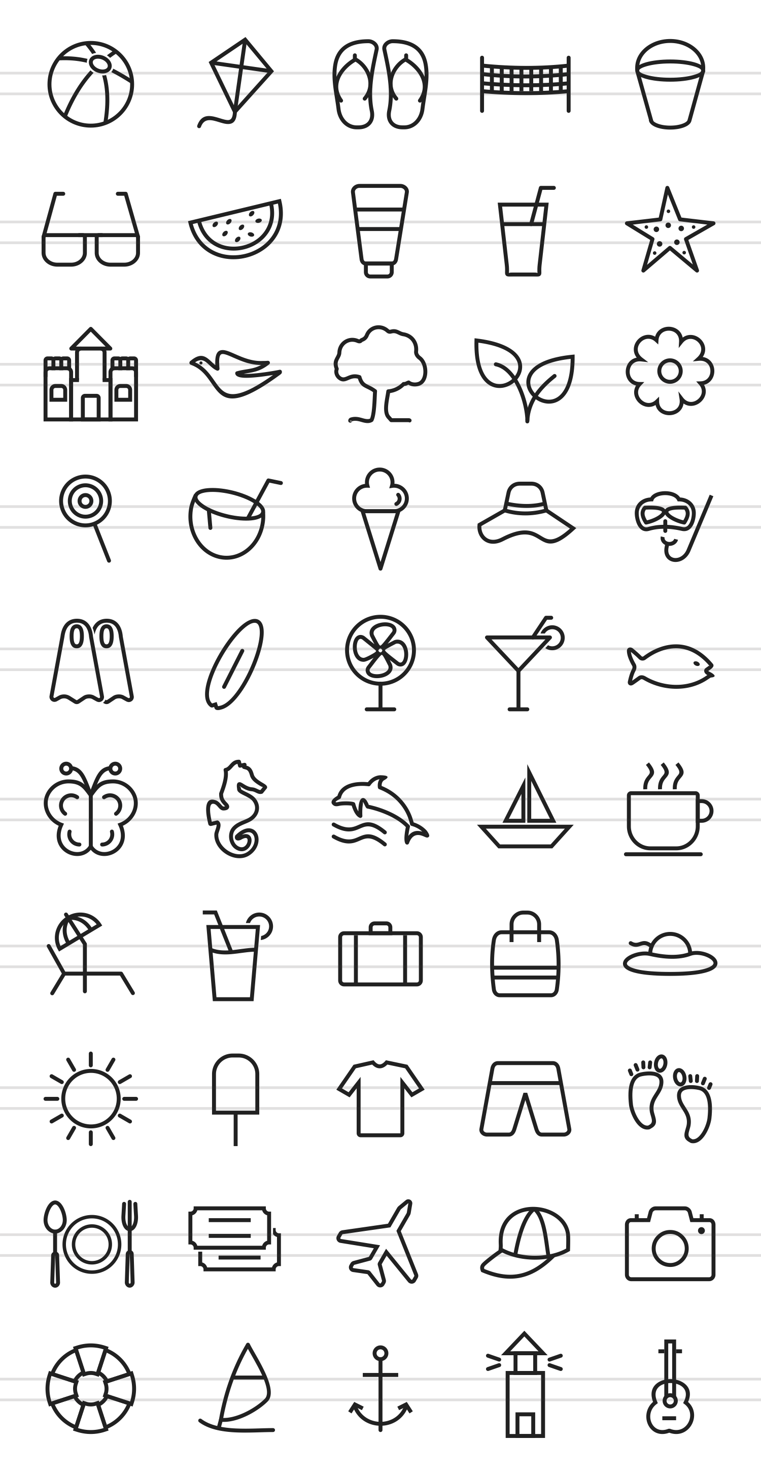 50 Summer Line Icons example image 2