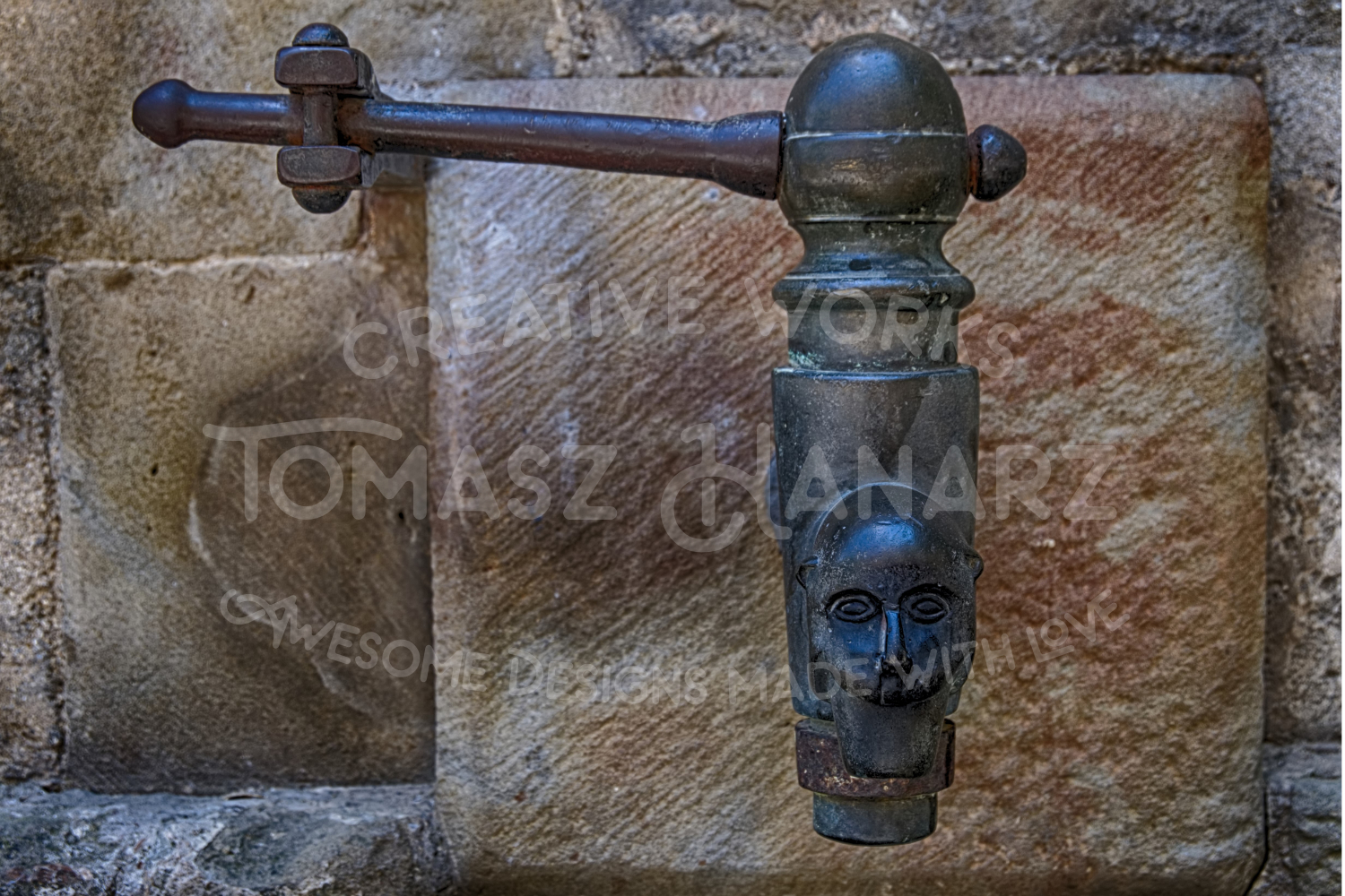Ancient Iron Faucet On Stone Wall example image 1