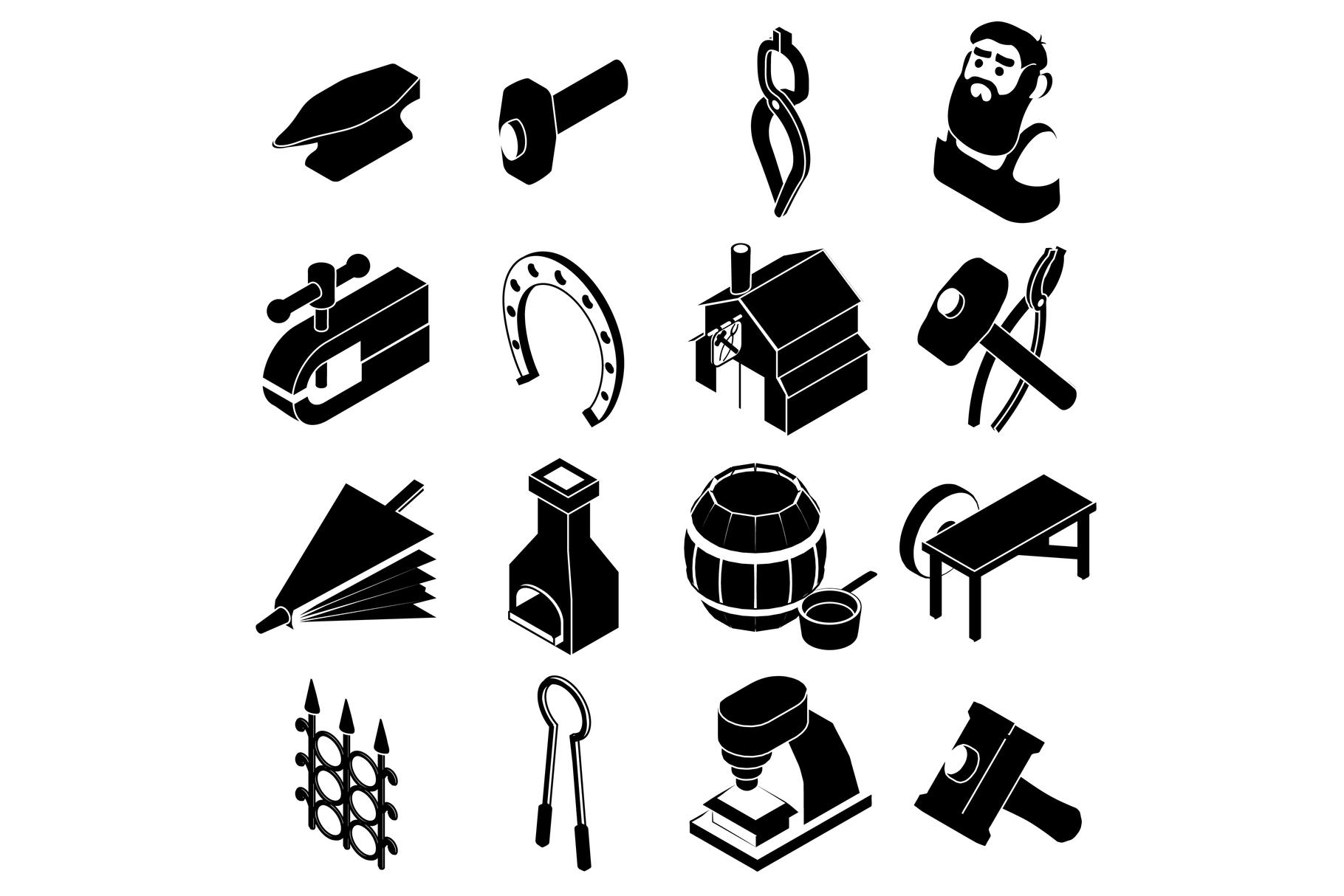 Blacksmith tools icons set, simple style example image 1