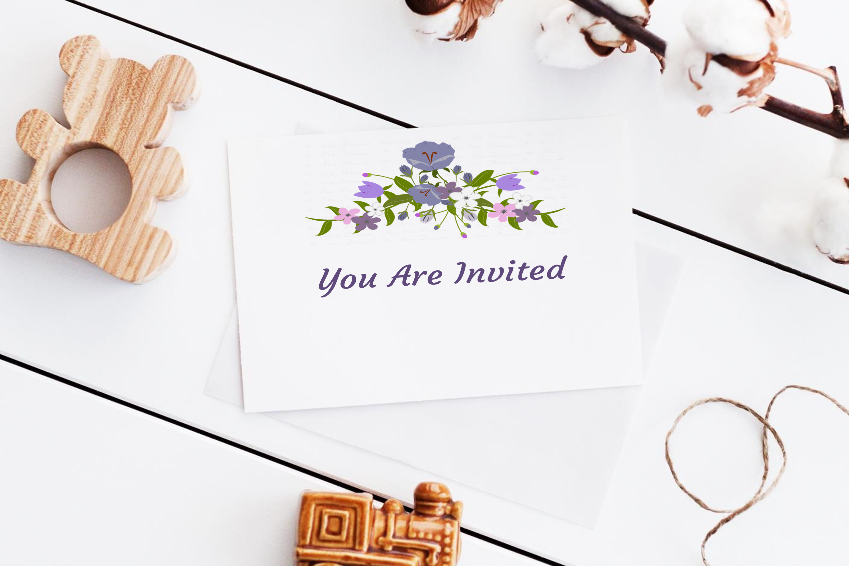 Purple Flowers Sublimation Clipart Bundle Wedding Floral example image 5