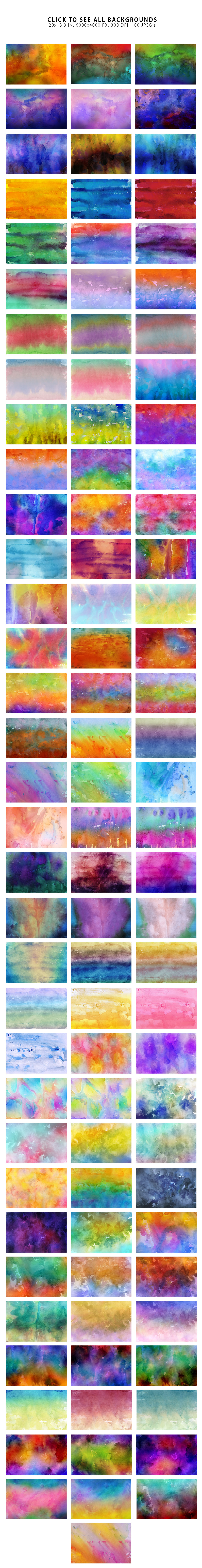 Only Watercolor Backgrounds Bundle example image 23