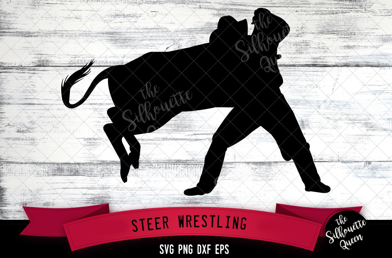 Steer Wrestling svg file, rodeo cowboy western svg cut file example image 1
