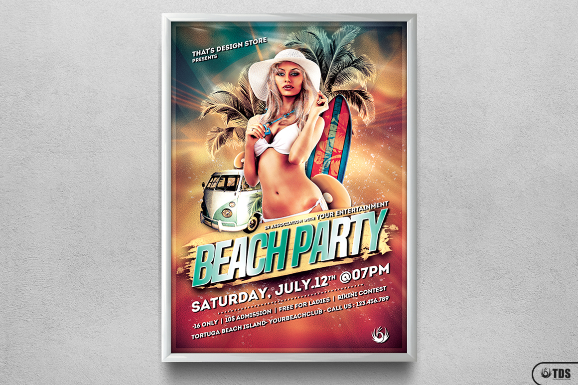 Beach Party Flyer Template V1 example image 6