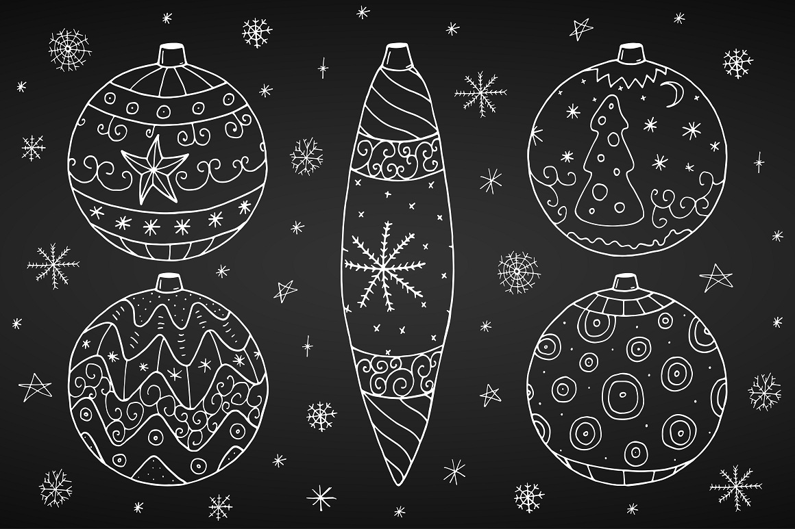 Christmas set in doodle style. example image 7